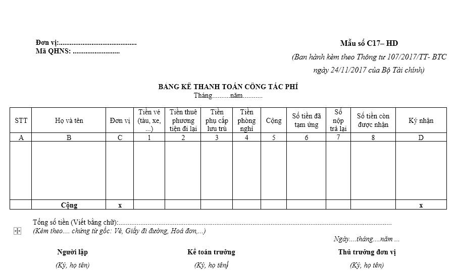 Mẫu bảng kê thanh toán công tác phí ban hành theo Thông tư số 107/2017/TT-BTC ngày 10/10/2017 của Bộ Tài chính