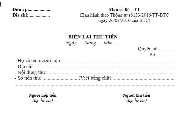 Mẫu biên lai thu tiền theo TT133/2016/TT-BTC ngày 26/08/2016 của Bộ Tài chính