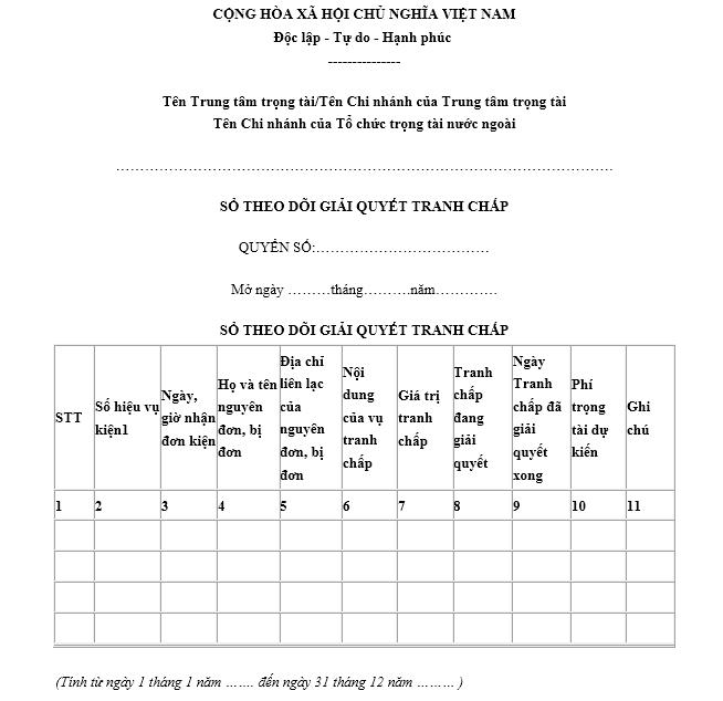 Mẫu sổ theo dõi giải quyết tranh chấp - Mẫu số 26/TP-TTTM ban hành kèm theo Thông tư số 12/2012/TT-BTP.