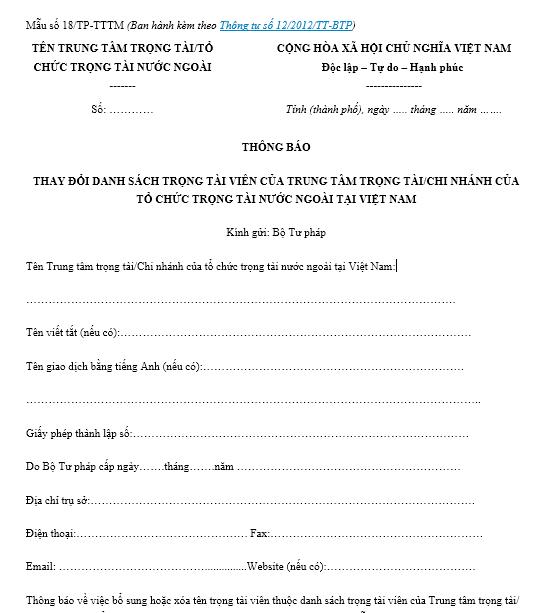 Mẫu thay đổi danh sách trọng tài viên của trung tâm trọng tài/chi nhánh của tổ chức trọng tài nước ngoài tại Việt Nam ban hành kèm theo Thông tư số 12/2012/TT-BTP.