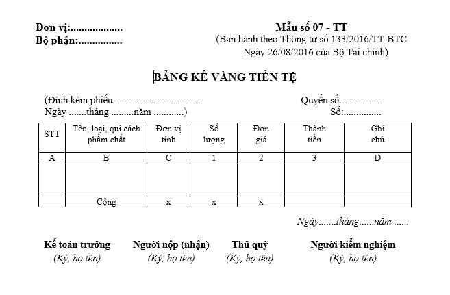 Mẫu bảng kê vàng tiền tệ theo TT133/2016/TT-BTC ngày 26/08/2016 của Bộ Tài chính