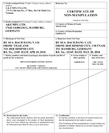Mẫu giấy chứng nhận hàng hóa không thay đổi xuất xứ