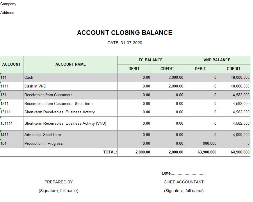 Mẫu bảng số dư cuối kỳ của các tài khoản ( TIẾNG ANH - Ngoại tệ)