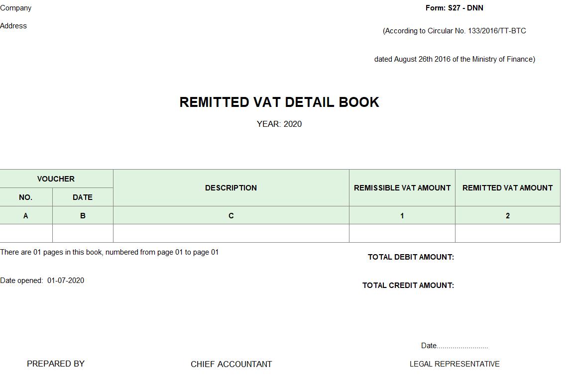 Mẫu sổ chi tiết thuế GTGT được miễn giảm theo TT 133 ( TIẾNG ANH)