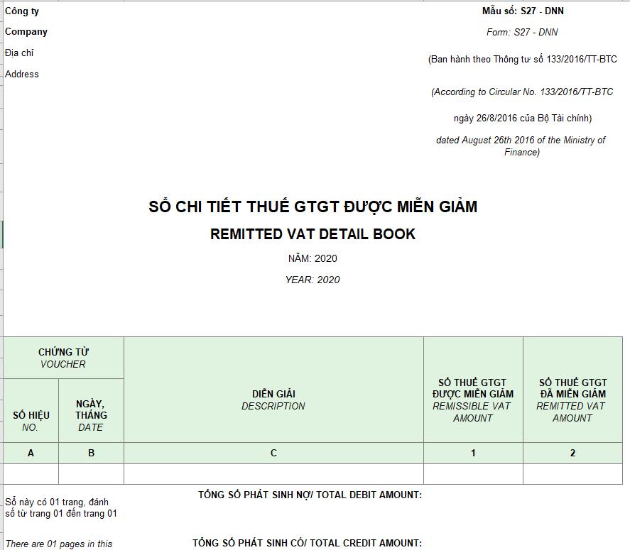 Mẫu sổ chi tiết thuế GTGT được miễn giảm theo TT 133 ( Song ngữ)