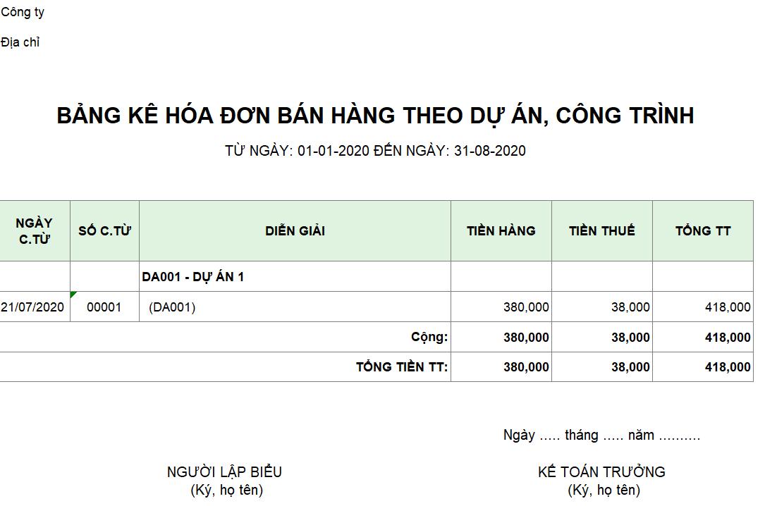 Mẫu bảng kê hóa đơn bán hàng theo dự án, công trình