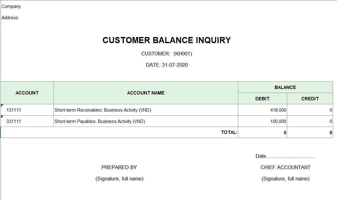 Mẫu tra số dư công nợ của một khách hàng ( TIẾNG ANH)