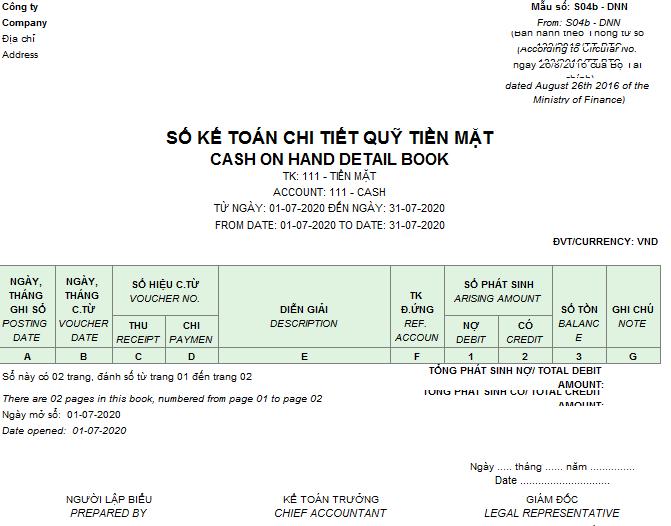 Mẫu sổ kế toán chi tiết quỹ tiền mặt theo TT 133 ( Song ngữ)