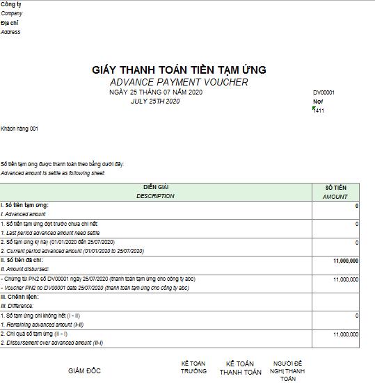 Mẫu giấy thanh toán tiền tạm ứng theo TT133 ( Song ngữ)