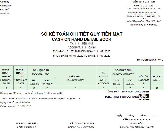Mẫu sổ kế toán chi tiết quỹ tiền mặt theo TT 200 ( Song ngữ)