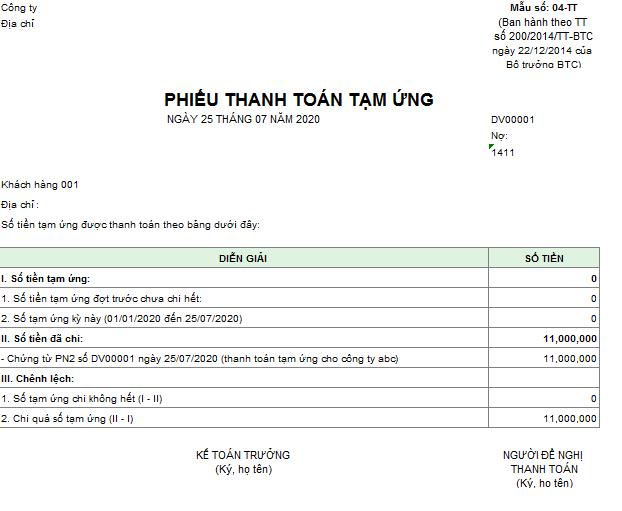 Mẫu phiếu thanh toán tiền tạm ứng theo TT200