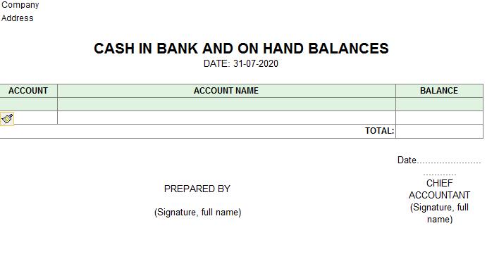 Mẫu báo cáo số dư tại quỹ và tại các ngân hàng ( TIẾNG ANH)