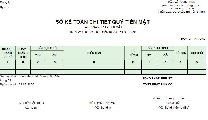 Mẫu sổ kế toán chi tiết quỹ tiền mặt theo TT 133