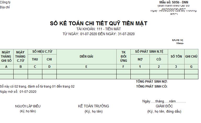 Mẫu sổ kế toán chi tiết quỹ tiền mặt theo TT 133 ( Ngoại tệ)