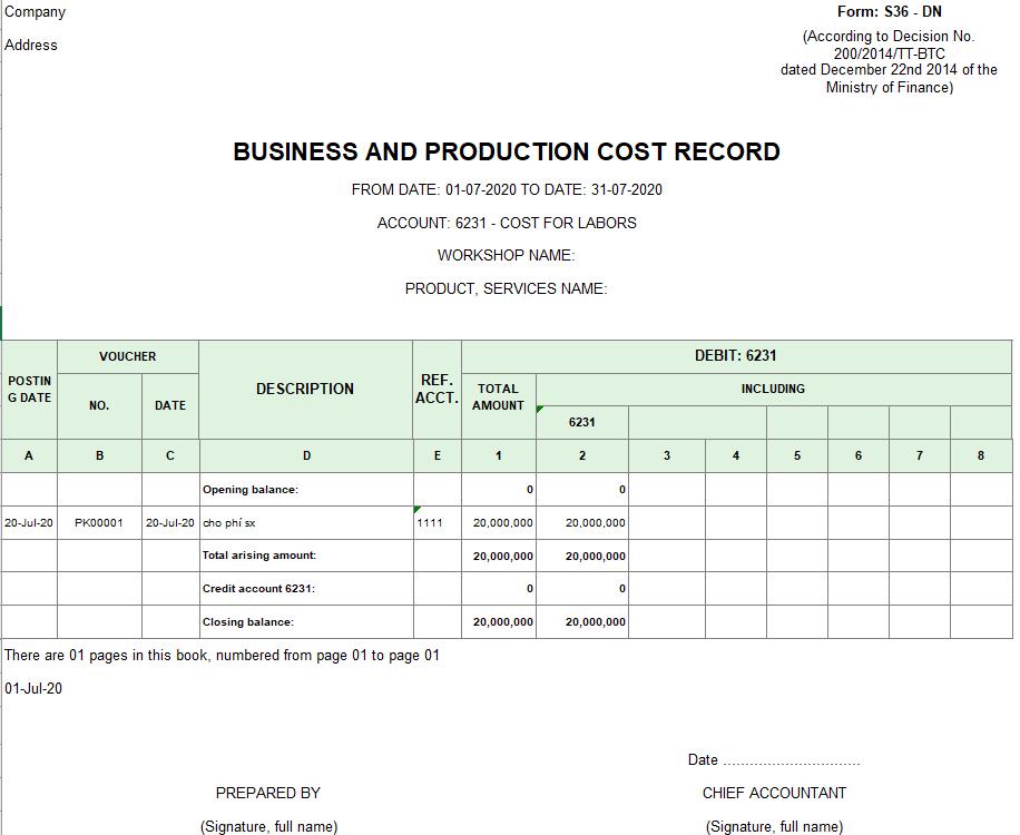 Mẫu sổ chi phí sản xuất kinh doanh theo TT200 ( TIẾNG ANH)
