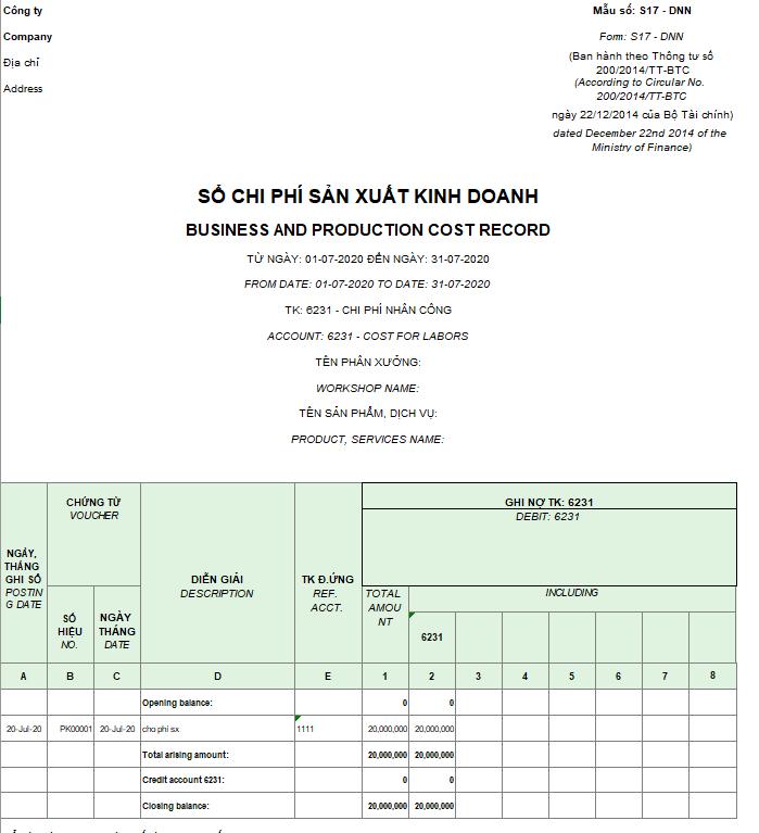 Mẫu sổ chi phí sản xuất kinh doanh theo TT200 ( Song ngữ)