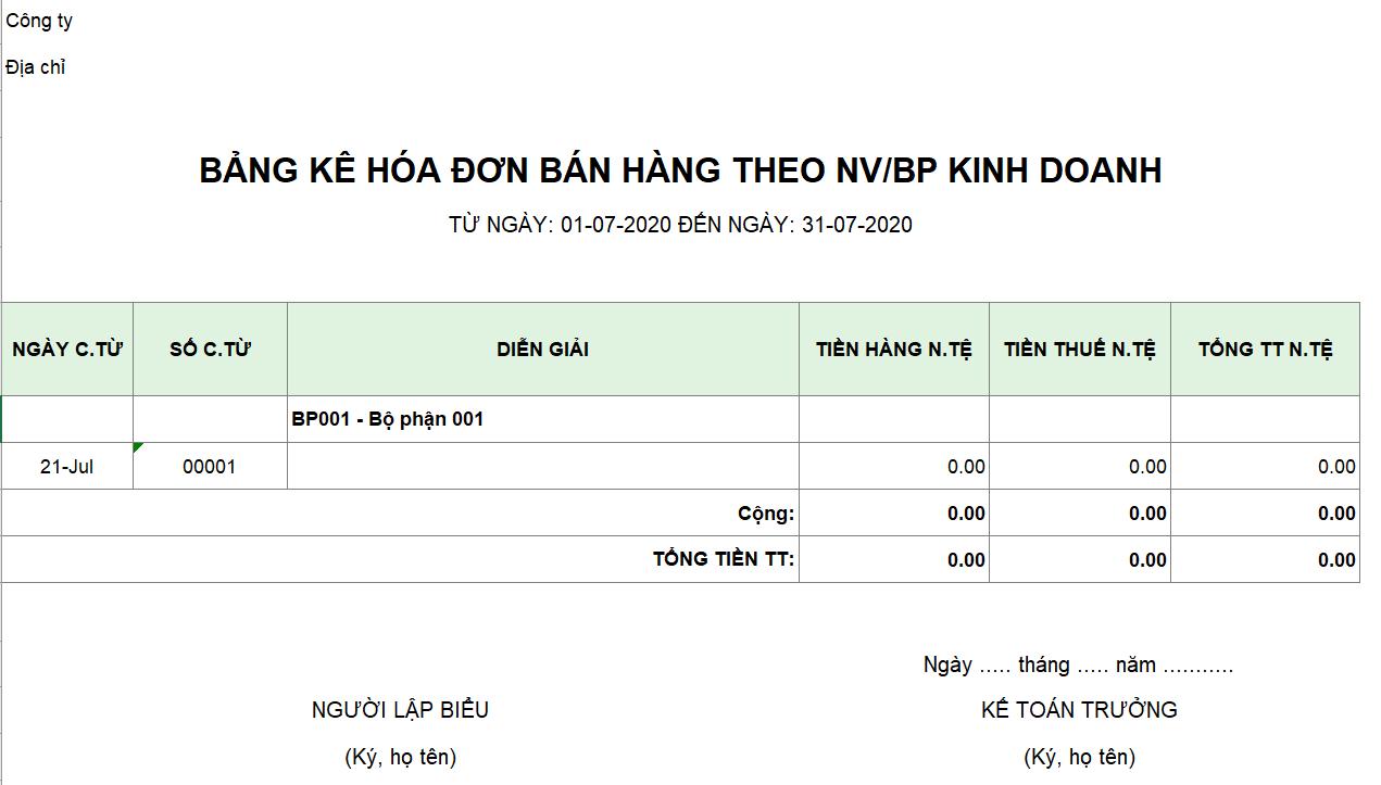Mẫu bảng kê hóa đơn bán hàng theo NV/BP kinh doanh ( Ngoại tệ)