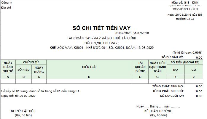 Mẫu sổ chi tiết tiền vay theo TT133 ( Ngoại tệ)
