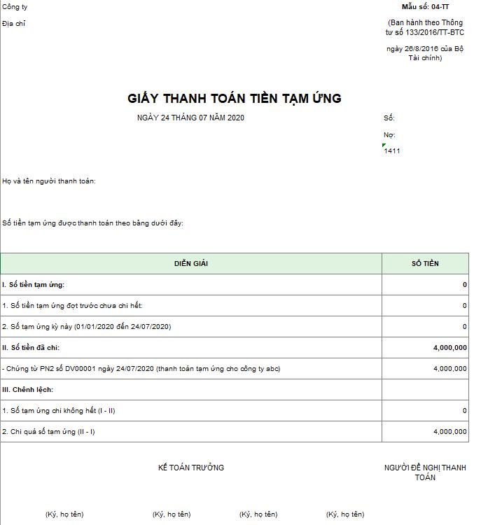 Mẫu giấy thanh toán tiền tạm ứng theo TT133