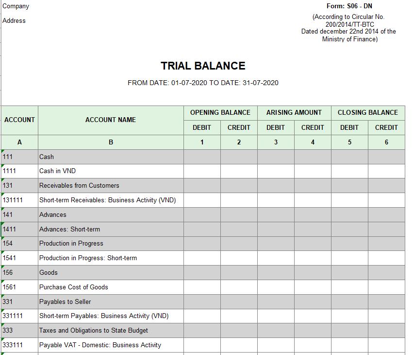 Mẫu bảng cân đối phát sinh các tài khoản theo TT200 ( TIẾNG ANH)