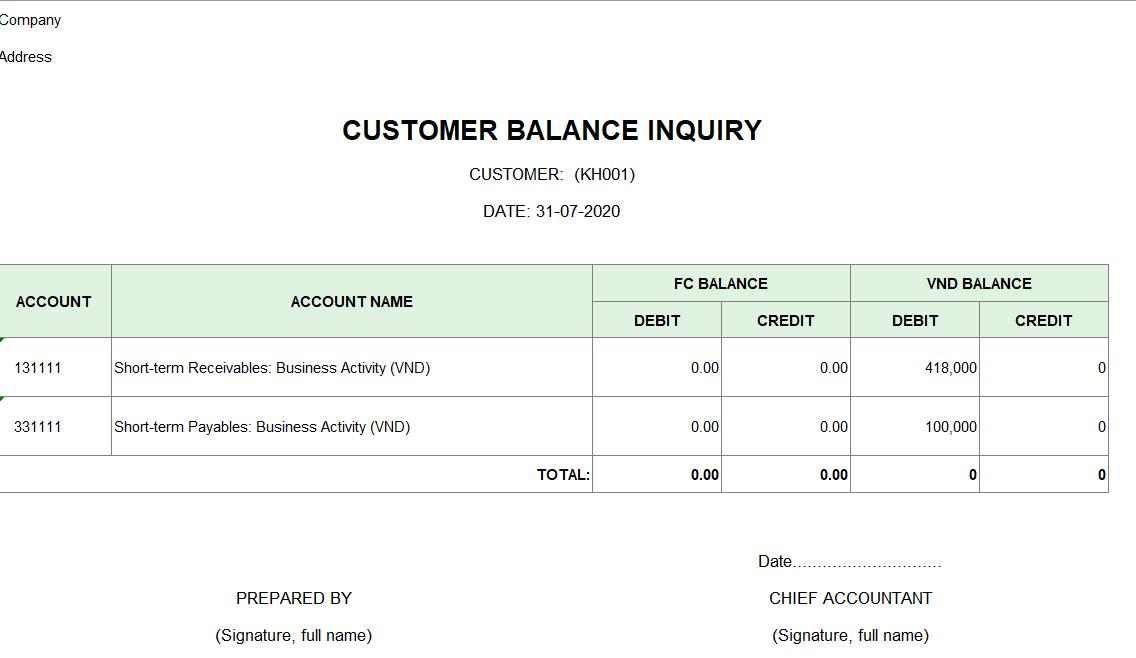 Mẫu tra số dư công nợ của một khách hàng ( TIẾNG ANH - Ngoại tệ)
