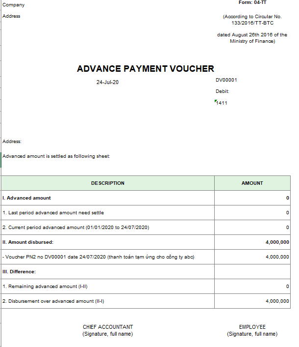 Mẫu giấy thanh toán tiền tạm ứng theo TT133 ( TIẾNG ANH)