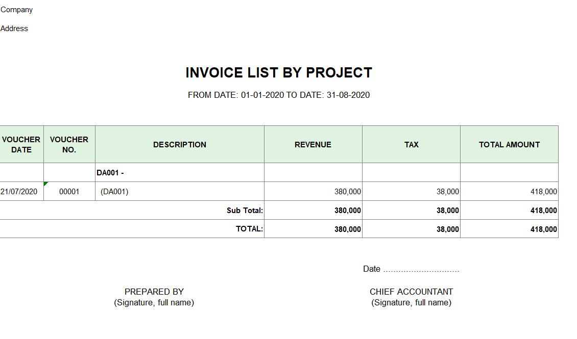 Mẫu bảng kê hóa đơn bán hàng theo dự án, công trình ( TIẾNG ANH)