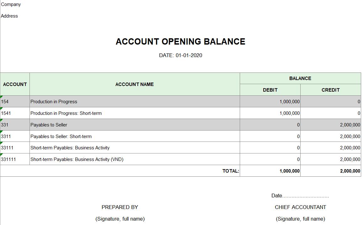 Mẫu bảng số dư đầu kỳ của các tài khoản ( TIẾNG ANH)
