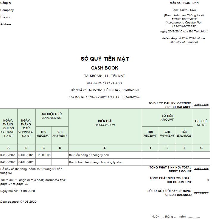 Mẫu sổ quỹ tiền mặt theo TT 133 ( Song ngữ)