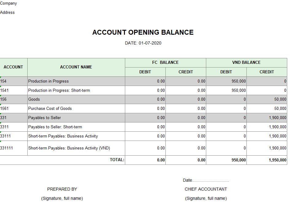 Mẫu bảng số dư đầu kỳ của các tài khoản ( TIẾNG ANH - Ngoại tệ)