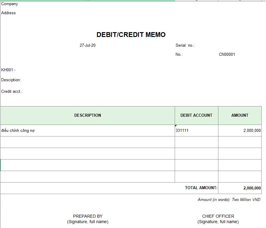 Mẫu phiếu ghi nợ, ghi có tài khoản công nợ ( TIẾNG ANH)