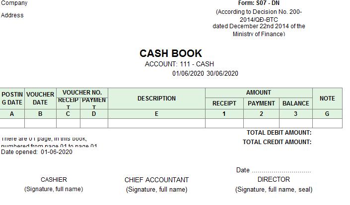 Mẫu sổ quỹ tiền mặt ( TIẾNG ANH) theo TT200/2014/TT-BTC ngày 22/12/2014 của Bộ Tài chính