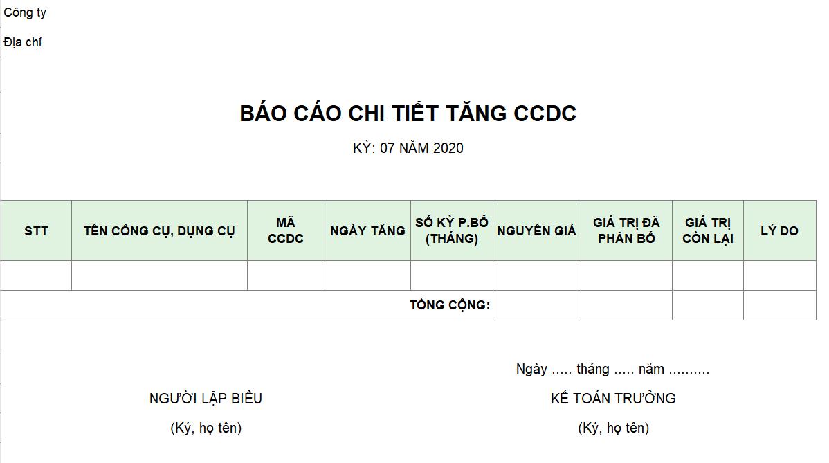 Mẫu báo cáo chi tiết tăng CCDC