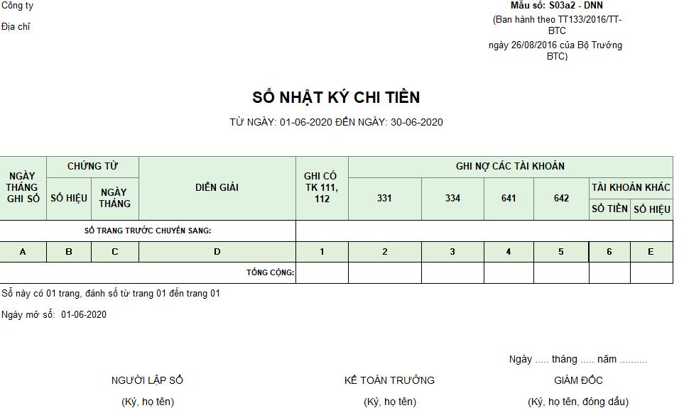 Mẫu sổ nhật ký chi tiền ( Ngoại tệ) theo TT133/2016/TT-BTC ngày 26/08/2016 của Bộ Tài chính