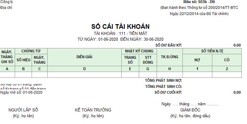 Mẫu Sổ cái ( Ngoại tệ) theo TT200/2014/TT-BTC