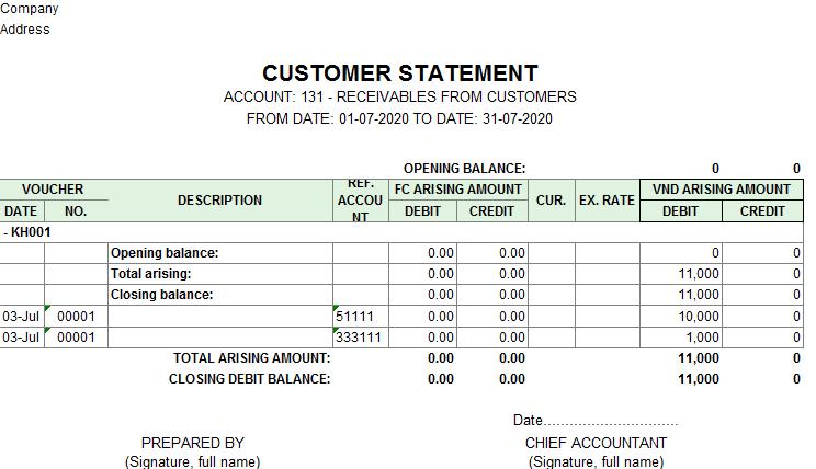 Mẫu sổ chi tiết công nợ ( TIẾNG ANH - Ngoại tệ)