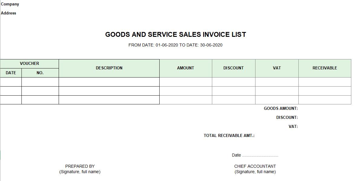 Mẫu bảng kê hóa đơn bán hàng và dịch vụ ( TIẾNG ANH)