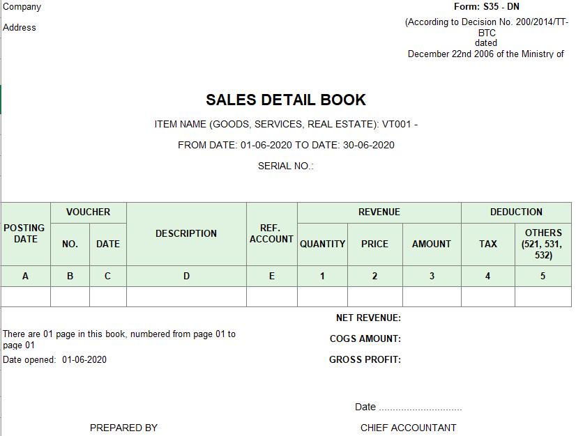 Mẫu sổ chi tiết bán hàng ( TIẾNG ANH) theo TT200/2014/TT-BTC ngày 22/12/2014 của Bộ Tài chính