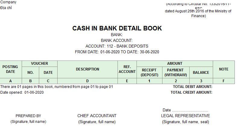 Mẫu sổ tiền gửi ngân hàng ( TIẾNG ANH) theo TT133/2016/TT-BTC ngày 26/08/2016 của Bộ Tài chính
