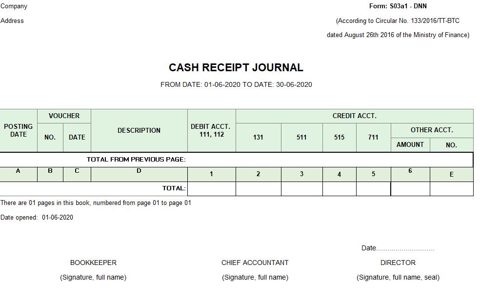 Mẫu sổ nhật ký thu tiền ( TIẾNG ANH - Ngoại tệ) theo TT133/2016/TT-BTC ngày 26/08/2016 của Bộ Tài chính