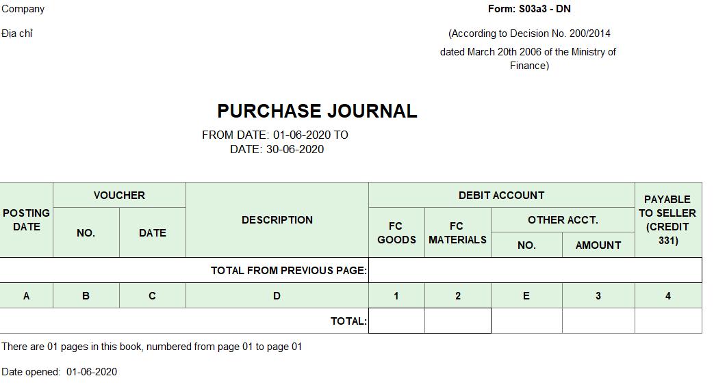 Mẫu sổ nhật ký mua hàng ( TIẾNG ANH - Ngoại tệ) theo TT200/2014/TT-BTC