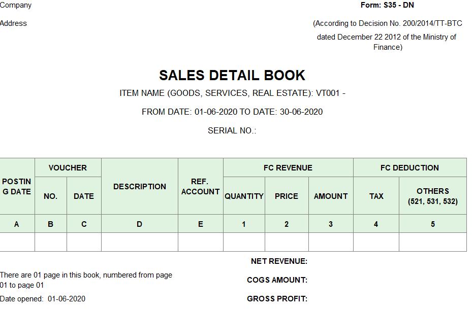 Mẫu sổ chi tiết bán hàng ( TIẾNG ANH - Ngoại tệ) theo TT200/2014/TT-BTC ngày 22/12/2014 của Bộ Tài chính