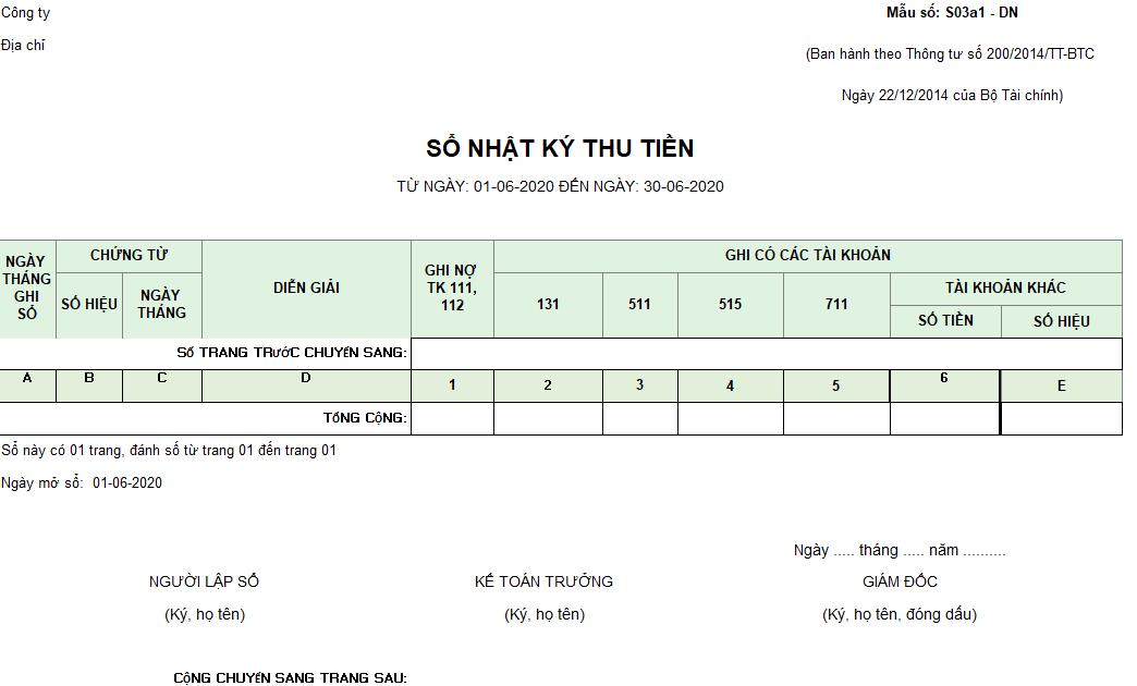 Mẫu sổ nhật ký thu tiền ( Ngoại tệ) theo TT200/2014/TT-BTC ngày 22/12/2014 của Bộ Tài chính