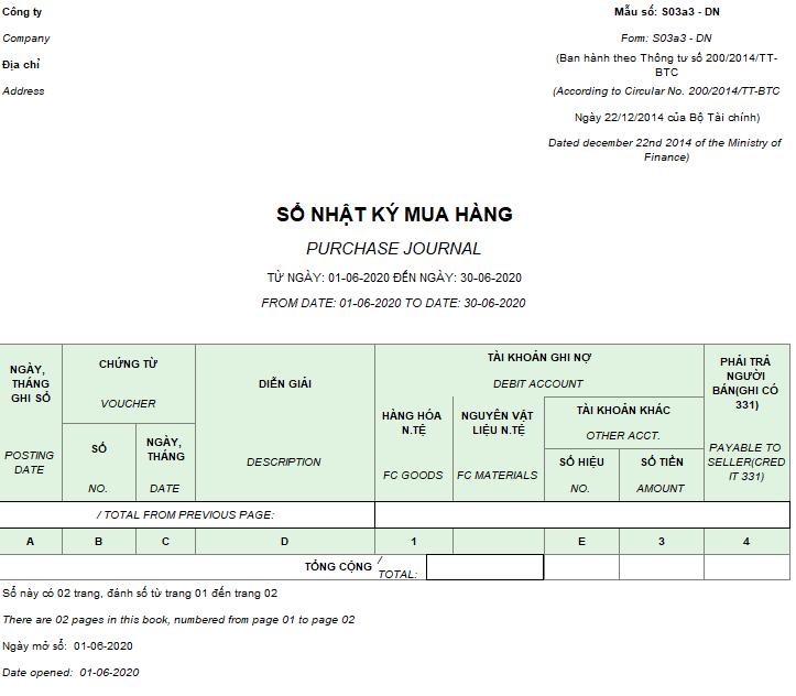 Mẫu sổ nhật ký mua hàng ( Song ngữ ) theo TT200/2014/TT-BTC