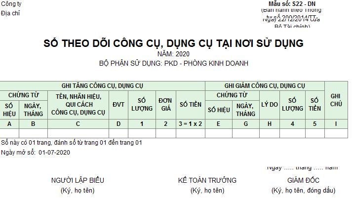 Mẫu sổ theo dõi CCDC tại nơi sử dụng theo TT 200