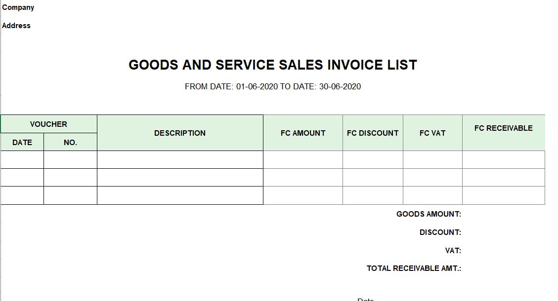 Mẫu bảng kê hóa đơn bán hàng và dịch vụ ( TIẾNG ANH - ngoại tệ )