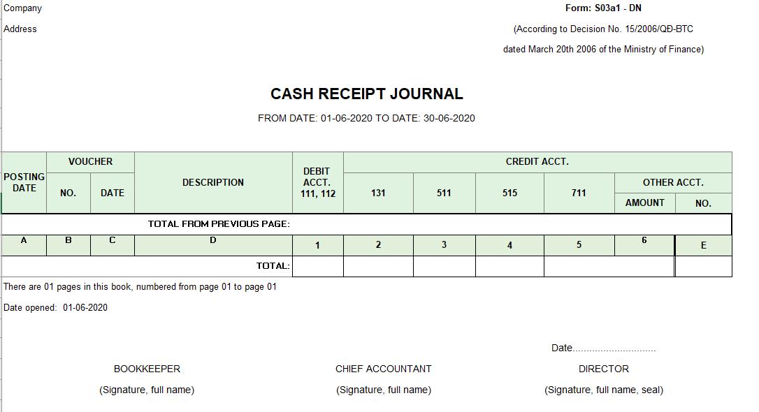 Mẫu sổ nhật ký thu tiền ( TIẾNG ANH) theo TT200/2014/TT-BTC ngày 22/12/2014 của Bộ Tài chính