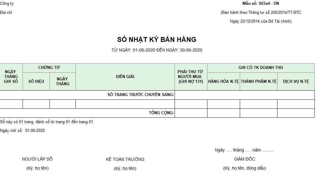 Mẫu sổ nhật ký bán hàng ( Ngoại tệ) theo TT200/2014/TT-BTC