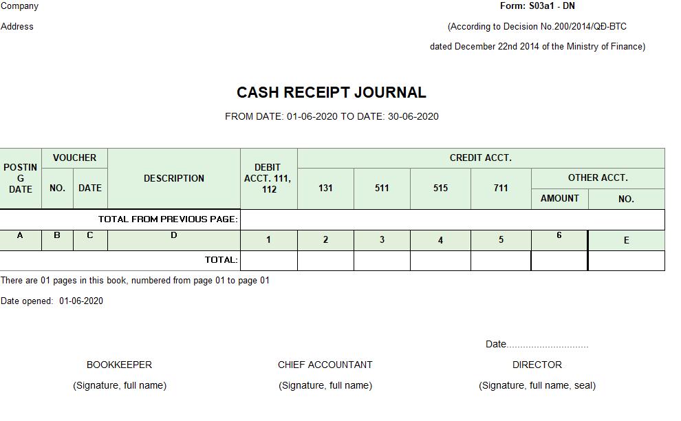 Mẫu sổ nhật ký thu tiền ( TIẾNG ANH - Ngoại tệ) theo TT200/2014/TT-BTC ngày 22/12/2014 của Bộ Tài chính