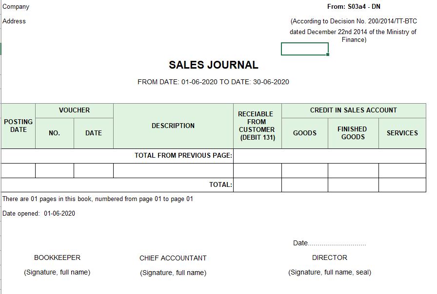 Mẫu sổ nhật ký bán hàng ( TIẾNG ANH) theo TT200/2014/TT-BTC